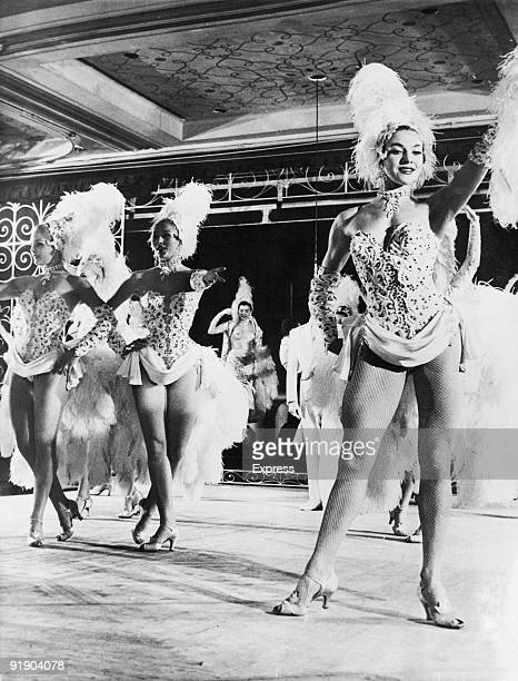 Showgirl Molly Dexter on stage at the Lido in Paris with the Bluebell Girls 25th May 1957 Molly who weighed just over 10 stone was recently sent home...