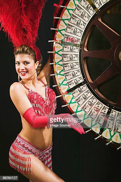 Showgirl spinning the wheel of fortune