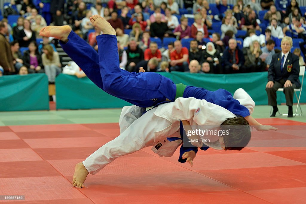 Showgo Kimura of the Ealing JC (white) threw Harry Matteescu of Stratford for ippon (10 points) with this throw on his way to the Pre Cadet Boys Under 46kgs gold medal during the British Cadet and Pre-Cadet Judo Championships on day 2, Sunday, January 13, 2013 at the English Institute of Sport, Sheffield, England, UK.