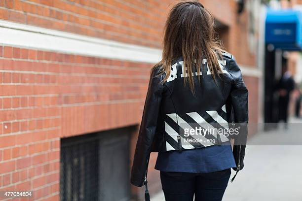 A showgoer wears an OffWhite jacket during The London Collections Men SS16 at on June 13 2015 in London England