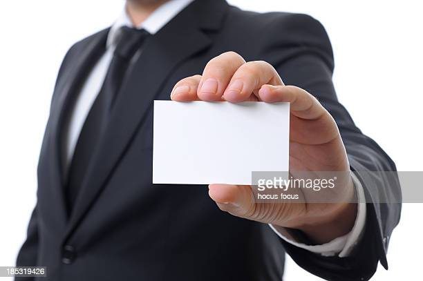 Showing business card