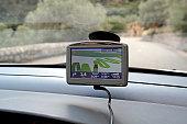 GPS showing winding roads