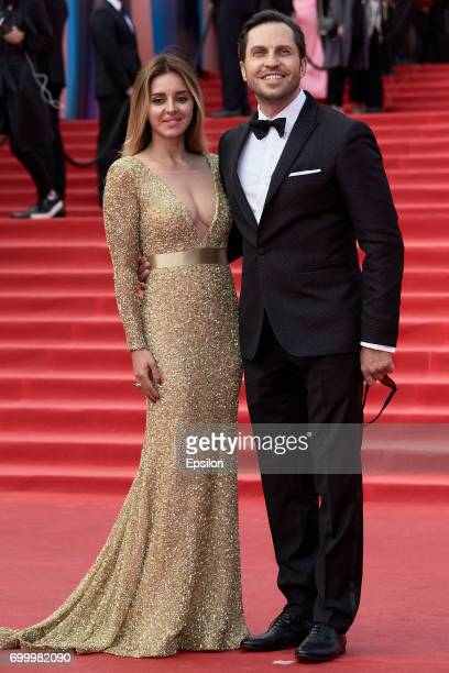 Showman Alexander Reva with his wife Anjelica attend opening of the 39th Moscow International Film Festival outside the Karo 11 Oktyabr Cinema on...