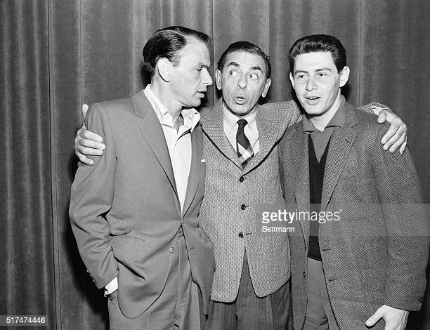 Showman Eddie Cantor introduces Frank Sinatra to Eddie Fisher during rehearsals for Cantor's NBCTV 'Colgate Comedy Hour' Sunday November 29 on which...