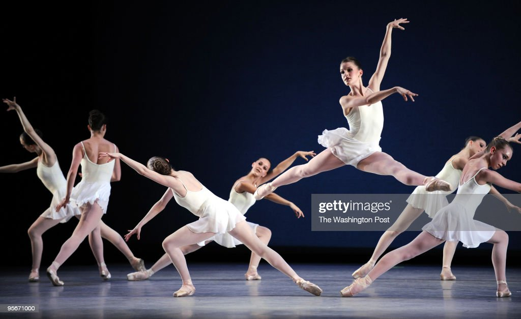 Shown are members of The American School of Ballet performing during a dress rehersal at the Kennedy Center