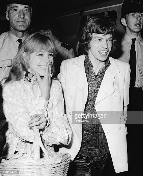 Shown at Euston Station are Mick Jagger leader of the Rolling Stones and his girlfriend Marianne Faithfull as they boarded a train for Bangor North...