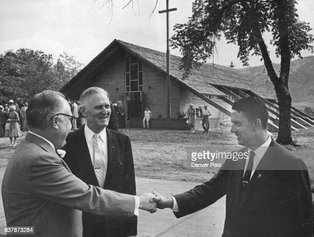 Shown at the dedication of the new interdenominational chapel at the State Industrial School for Boys in Golden Friday are three men instrumental in...
