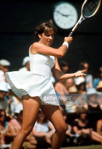 Shown here is tennis star Chris Evert playing at Wimbledon in England in 1976