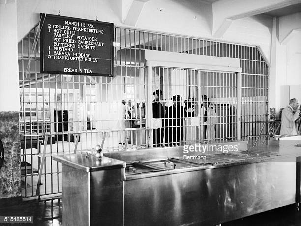 Shown here is the kitchen area of the Alcatraz prison with the daily menu posted