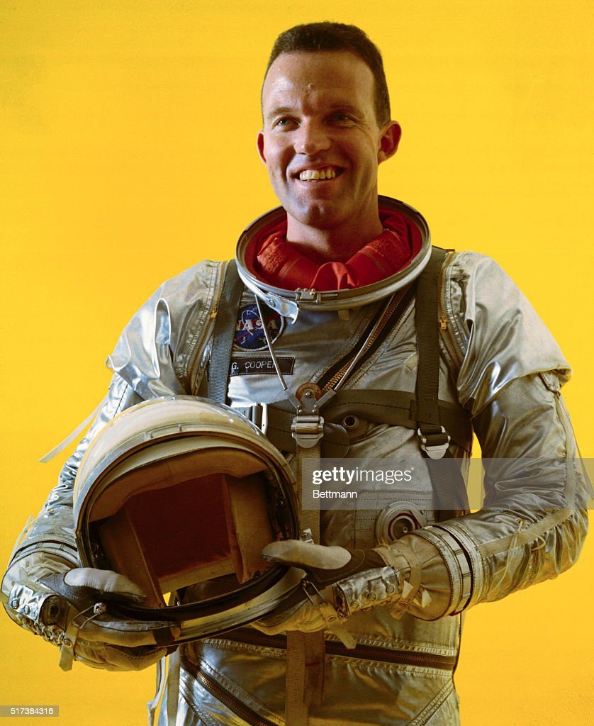 Shown here smiling is astronaut L. <a gi-track='captionPersonalityLinkClicked' href=/galleries/search?phrase=Gordon+Cooper+-+Astronaut&family=editorial&specificpeople=90970 ng-click='$event.stopPropagation()'>Gordon Cooper</a>. He is wearing his space suit and helmet during training.