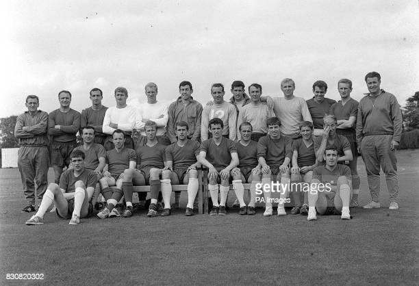 Shown here with their trainers are the 22 players in England's World Cup Squad Left to right Back row Assistant trainer Les Cocker George Cohen Gerry...
