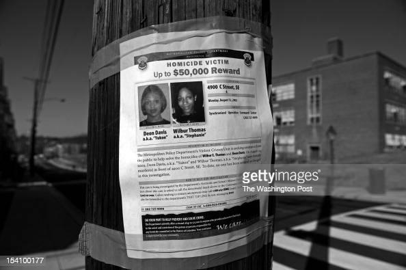 Shown is a reward sign posted by Queen Washington at 50th and C Streets SE on February 8 2012 in Washington DC On August 12 her son Wilbur...