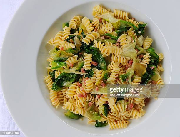 Shown is the Fusilli with Escarole Pancetta and Garlic at the home of food columnist Stephanie Sedgwick on September 28 2011 in Vienna Va All meals...