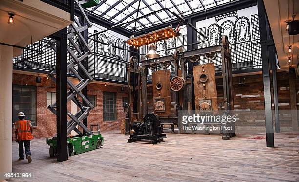 Shown is the lobby of the new Hecht Warehouse lofts apartments featuring remnants of the old warehouse constructed in to a sculpture in the Ivy City...