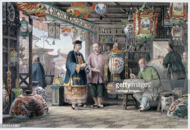 Showroom of a Lantern Merchant in Peking' China 1843 From China in a Series of Views by George Newenham Wright Artist Thomas Allom