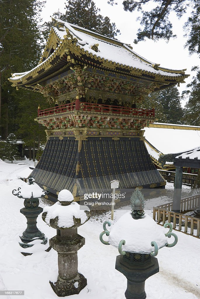 Showrow Bell Tower and lanterns at Toshogu Shrine