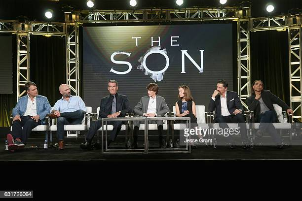 Showrunner Kevin Murphy executive producer Philipp Meyer actors Pierce Brosnan Jacob Lofland Sydney Lucas Carlos Bardem and Zahn McClarnon speak...