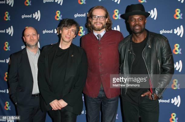 Showrunner Michael Green author Neil Gaiman showrunner Bryan Fuller and actor Chris Obi attend STARZ's Presents A Special Screening Of 'American...