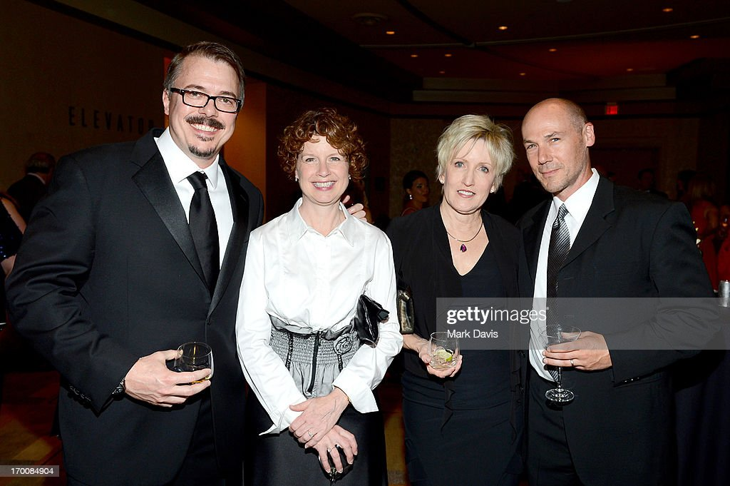 Showrunner <a gi-track='captionPersonalityLinkClicked' href=/galleries/search?phrase=Vince+Gilligan&family=editorial&specificpeople=4360133 ng-click='$event.stopPropagation()'>Vince Gilligan</a>, Janet Borba, Holly Rice and Andrew Borba attend a reception during AFI's 41st Life Achievement Award Tribute to Mel Brooks at Dolby Theatre on June 6, 2013 in Hollywood, California. 23647_005_MD_0213.JPG