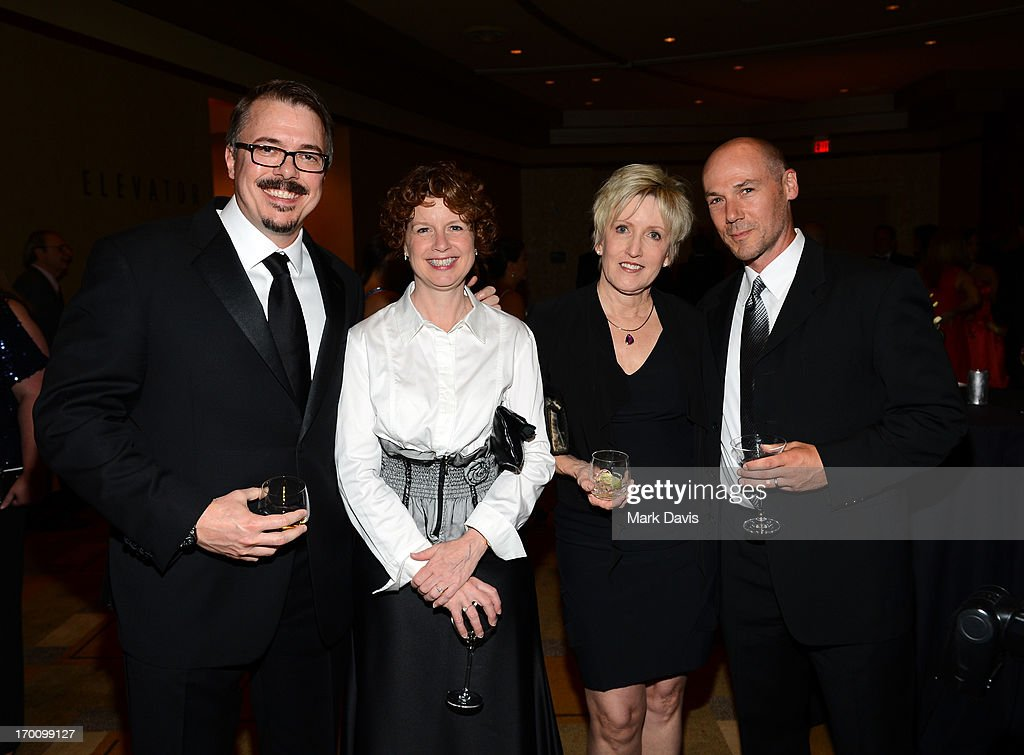 Showrunner <a gi-track='captionPersonalityLinkClicked' href=/galleries/search?phrase=Vince+Gilligan&family=editorial&specificpeople=4360133 ng-click='$event.stopPropagation()'>Vince Gilligan</a>, Janet Borba, Holly Rice and Andrew Borba attend a reception during AFI's 41st Life Achievement Award Tribute to Mel Brooks at Dolby Theatre on June 6, 2013 in Hollywood, California. 23647_005_MD_0209.JPG