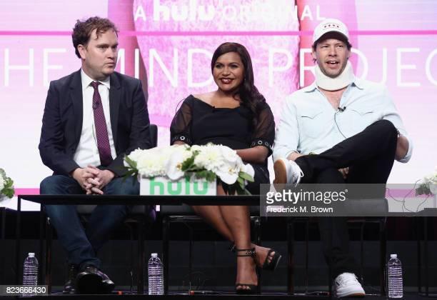 Showrunner/executive producer Matt Warburton executive producer Mindy Kaling and Ike Barinholtz of 'The Mindy Project Final 6th Season' speak onstage...