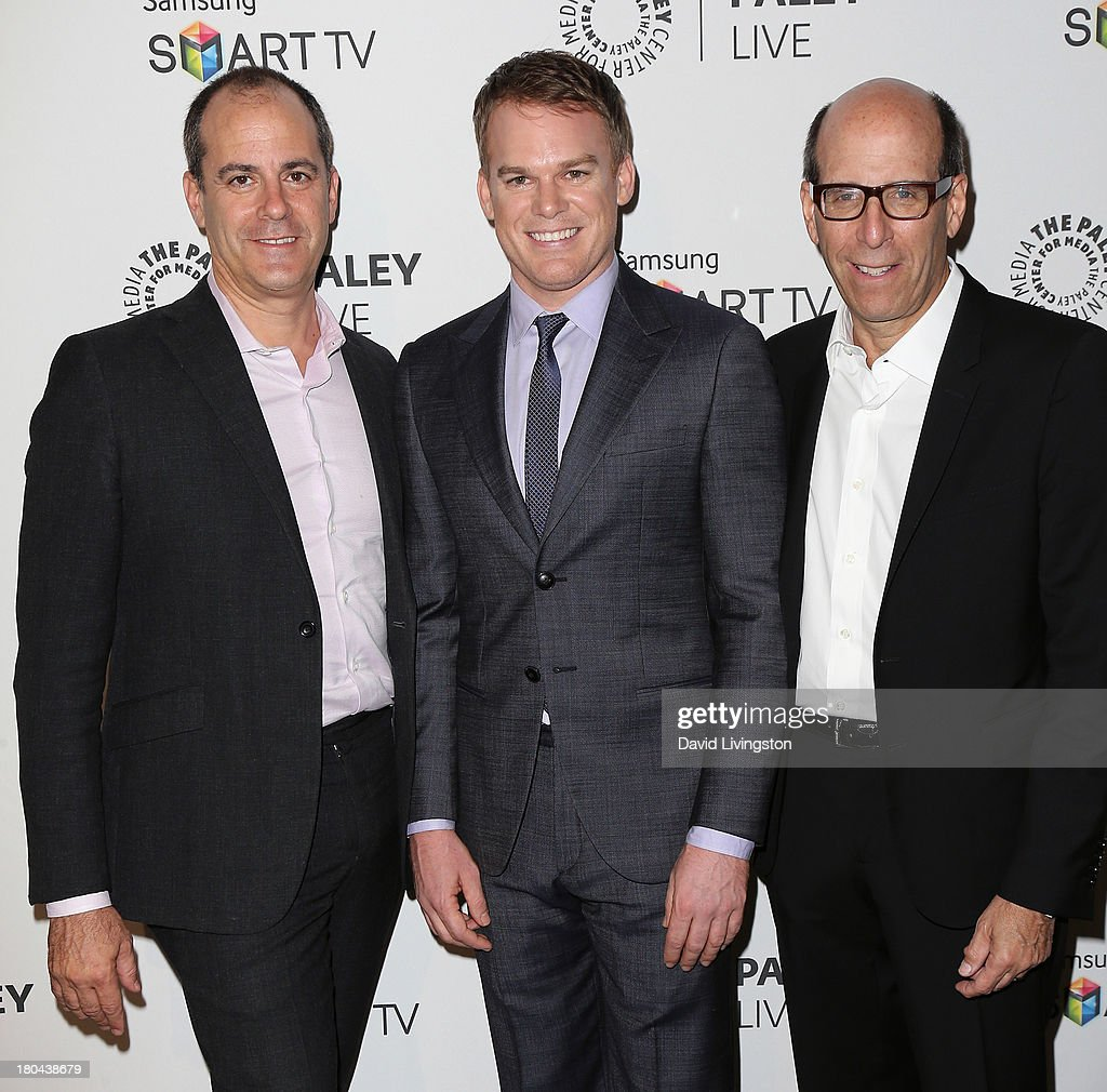 Showtime Networks Inc. President of Entertainment David Nevins, actor <a gi-track='captionPersonalityLinkClicked' href=/galleries/search?phrase=Michael+C.+Hall+-+Actor&family=editorial&specificpeople=680229 ng-click='$event.stopPropagation()'>Michael C. Hall</a> and Showtime Networks Inc. Chairman & CEO Matthew C. Blank attend PaleyFestPreviews: Fall TV - Fall Farewell: 'Dexter' at The Paley Center for Media on September 12, 2013 in Beverly Hills, California.