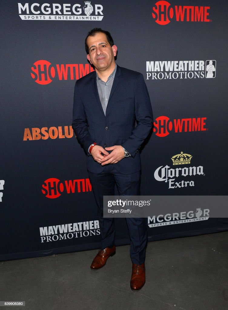 Showtime Sports and Event Programming EVP & General Manager Stephen Espinoza (L) attends the Showtime, WME IME and Mayweather Promotions VIP Pre-Fight party for Mayweather vs. McGregor at T-Mobile Arena on August 26, 2017 in Las Vegas, Nevada.