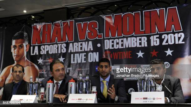 Showtime's Stephen Espinoza Golden Boy's Richard Schaefer Boxer Amir Khan and his manager Asif Vali during the press conference at The Mayfair Hotel...