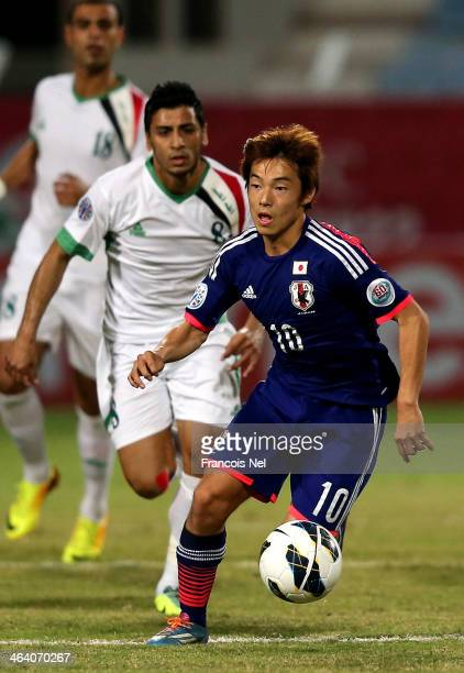 Shoya Nakajima of Japan in action during the AFC U22 Championship quarter final match between Iraq and Japan at Seeb Sports Complex on January 20...