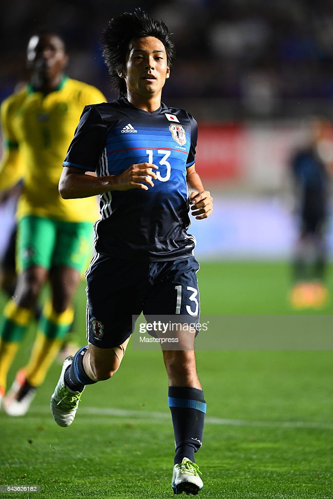 Shoya Nakajima of Japan in action during the U-23 international friendly match between Japan v South Africa at the Matsumotodaira Football Stadium on June 29, 2016 in Matsumoto, Nagano, Japan.