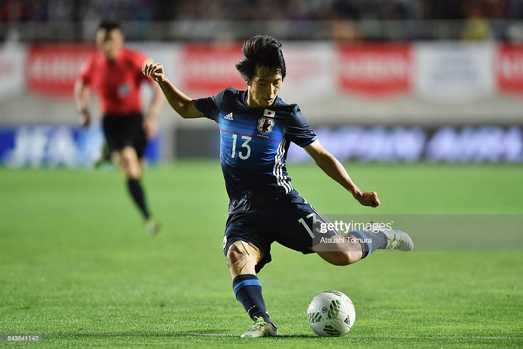 <a gi-track='captionPersonalityLinkClicked' href=/galleries/search?phrase=Shoya+Nakajima&family=editorial&specificpeople=7882598 ng-click='$event.stopPropagation()'>Shoya Nakajima</a> of Japan shoots at goal during the U-23 international friendly match between Japan and South Africa at the Matsumotodaira Football Stadium on June 29, 2016 in Matsumoto, Nagano, Japan.