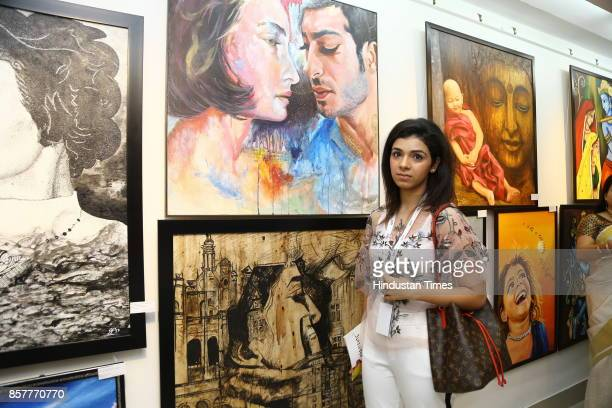 Shradha Gambhir during an opening of the group show Creciente at AIFACS Rafi Marg on September 29 2017 in New Delhi India The show brought together...