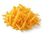 Shredded Cheese on white background