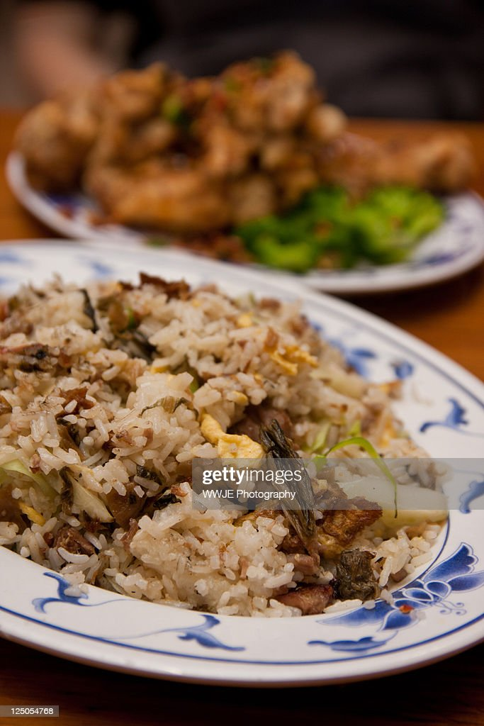 Shredded duck and preserved vegetable fried rice : Stock Photo