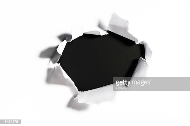 Zerkleinertes Papier mit dem Loch