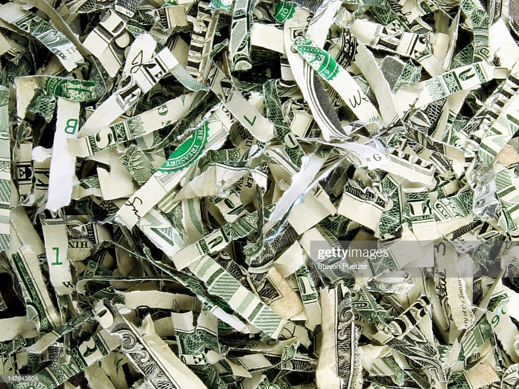 Shredded US currency, close-up