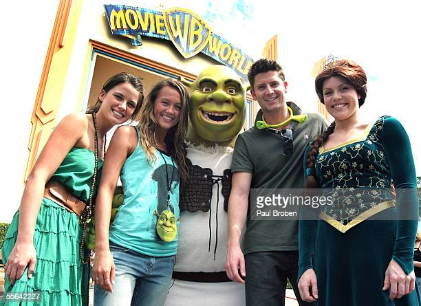 Shrek and Princess Fiona with Home And Away stars Jodi Gordon Sharni Vinson and Paul Obrien attends the opening of Shrek 4D Adventure at Warner...