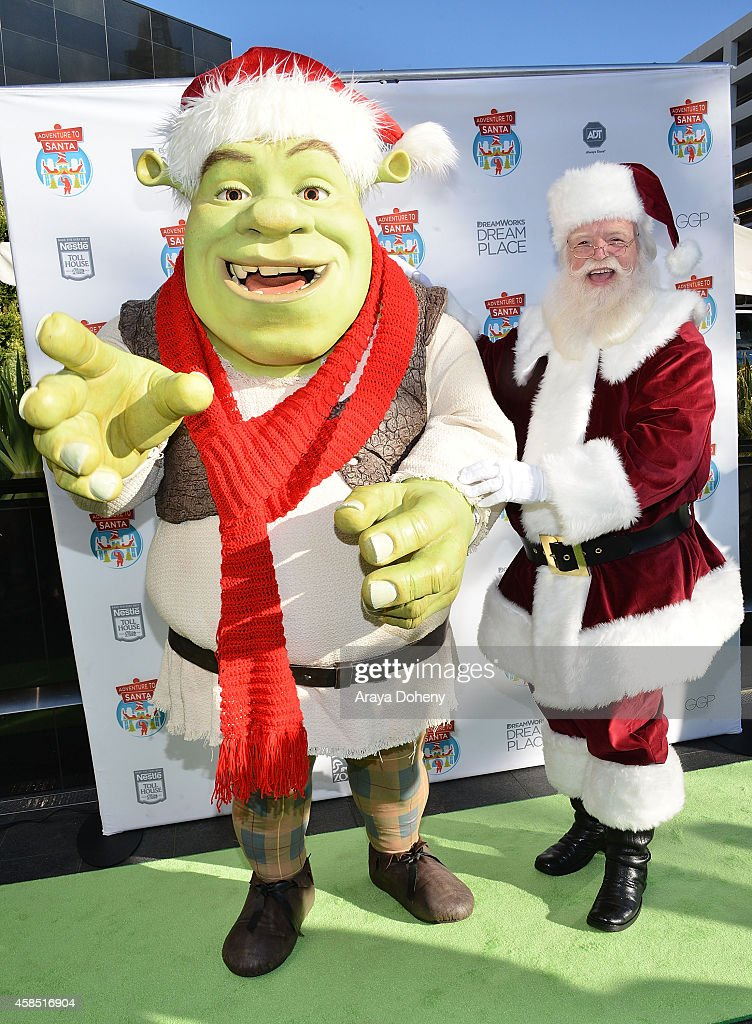 Shrek and Santa Claus characters visit 'Adventure To Santa' interactive Santa Claus experience from DreamWorks Animation at Glendale Galleria on November 6, 2014 in Glendale, California.