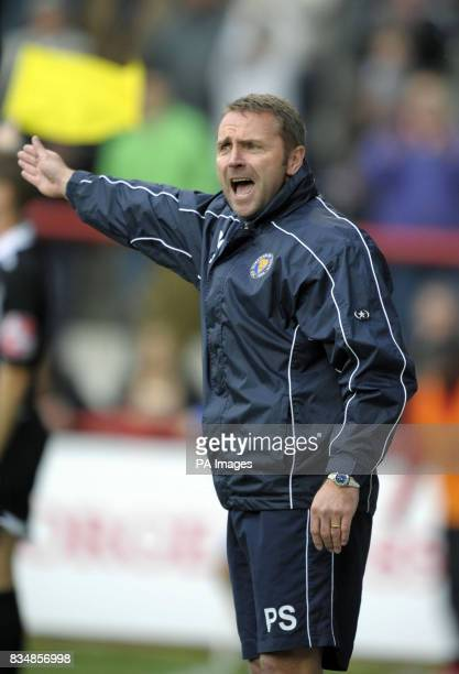 Shrewsbury manager Paul Simpson during the CocaCola League Two match at Griffin Park Brentford