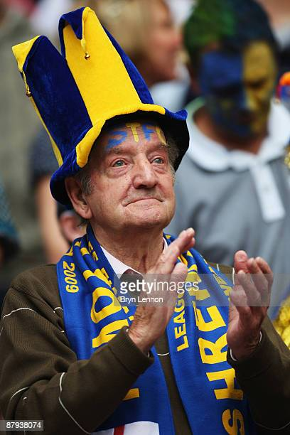 Shrewsbury Town fans look on prior to the Coca Cola League 2 Playoff Final match between Gillingham and Shrewsbury Town at Wembley Stadium on May 23...