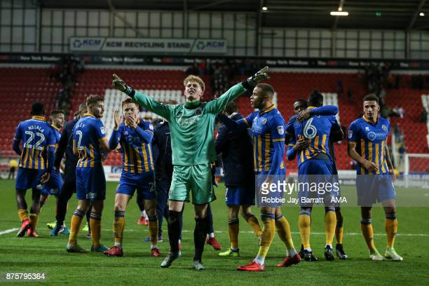 Shrewsbury Town players celebrate at full time during the Sky Bet League One match between Rotherham United and Shrewsbury Town at The New York...