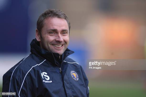 Shrewsbury Town's manager Paul Simpson during the CocaCola Football League Two match at Vale Park Port Vale