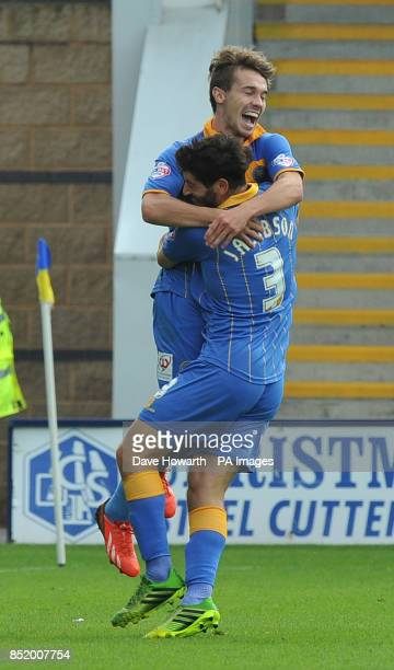 Shrewsbury Town's Tom Bradshaw celebrates scoring during the Sky Bet Football League One match at the Greenhous Meadow Shrewsbury