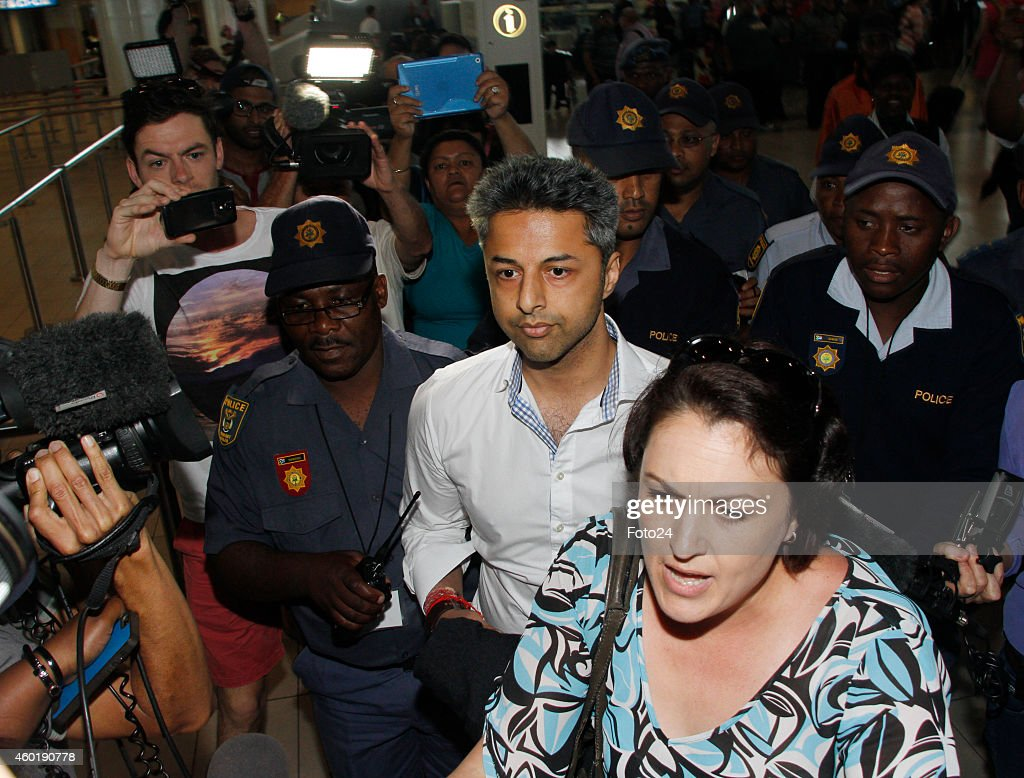 <a gi-track='captionPersonalityLinkClicked' href=/galleries/search?phrase=Shrien+Dewani&family=editorial&specificpeople=7343604 ng-click='$event.stopPropagation()'>Shrien Dewani</a> at the Cape Town International Airport on December 9, 2014 in Cape Town, South Africa. Dewani was found not guilty of organising his wife's murder while they were on honeymoon in Cape Town in 2010.