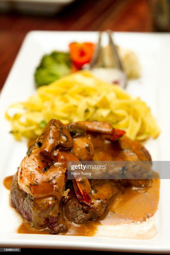 Shrimp and steak : Stock Photo