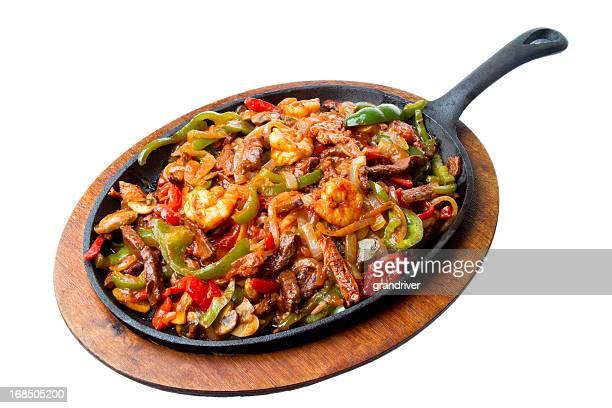 Crevettes, les Fajitas au bœuf et au poulet