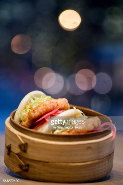 Shrimp Buns spicy mayo pickled red onion and iceberg at Momofuku