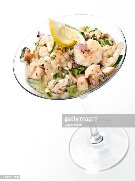 shrimp ceviche is cocktail glass