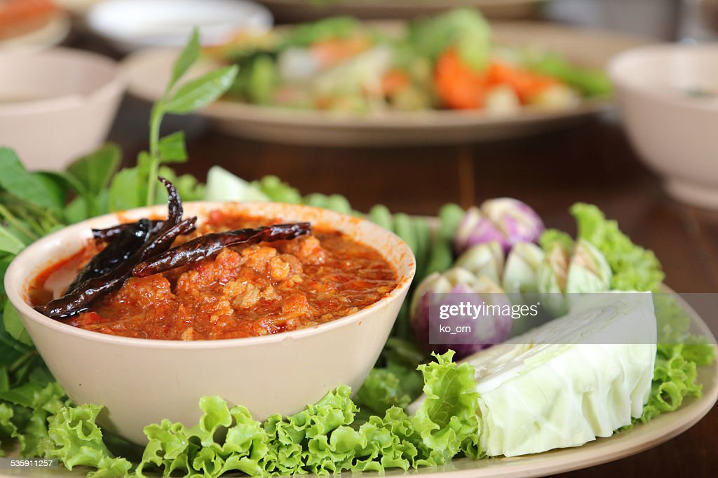shrimp chili paste with vegetable. : Stock Photo