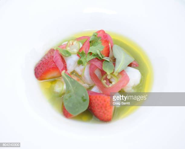 Shrimp Cucumber and Strawberry Ceviche prepared by Chef Ludo Lefebvre during SPellegrino Taste Guide Event With Chefs April Bloomfield Ludo Lefebvre...